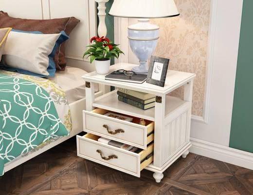 床头柜, 摆件组合, 台灯