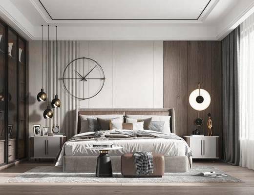 双人床, 床头柜, 墙饰, 吊灯, 衣柜, 窗帘