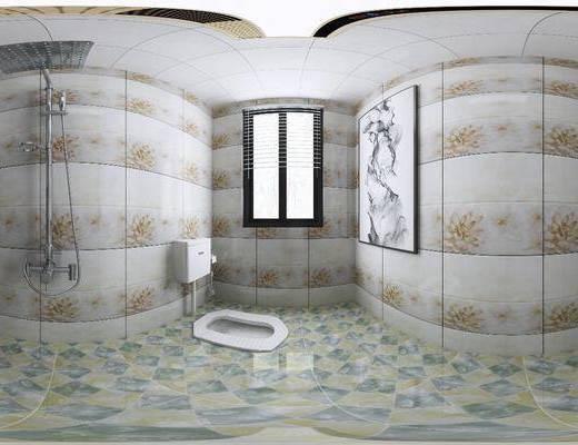卫生间, 家装全景, 淋雨花洒, 尊便器, 装饰画, 挂画, 现代