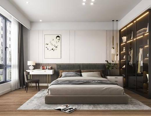 双人床, 挂画, 衣柜, 吊灯, 梳妆台, 摆件组合