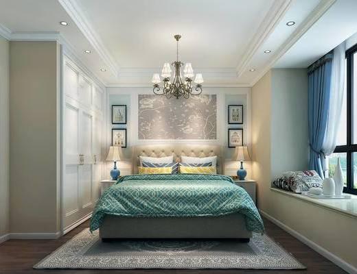 双人床, 床头柜, 吊灯, 挂画, 壁灯