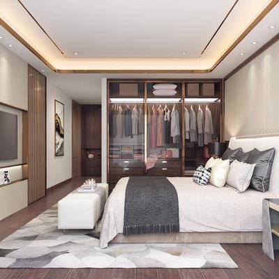 卧室, 床, 台灯, 床头柜, 衣柜, 后现代, 现代