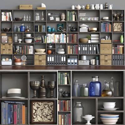 书柜, 装饰柜, 摆件, 装饰品, 现代, 陈设品, 摆件组合