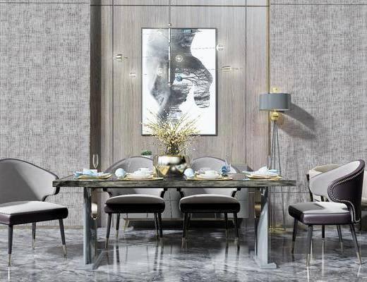 桌椅组合, 餐桌, 餐椅, 单人椅, 餐具, 落地灯, 装饰画, 挂画, 吊灯, 现代