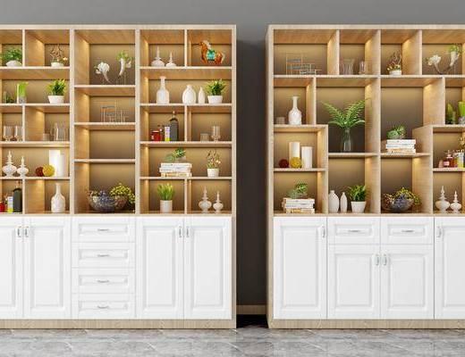 装饰柜, 置物柜, 现代装饰柜, 摆件组合, 植物, 盆栽, 书籍, 现代