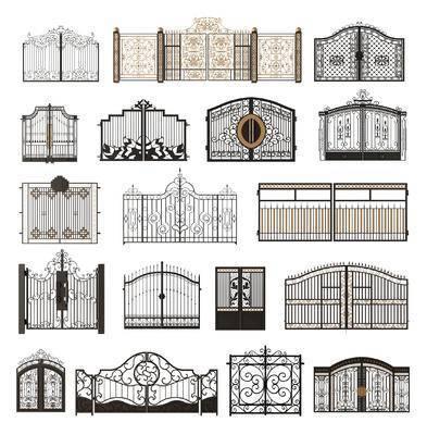 铁艺大门, 别墅大门, 现代铁艺大门, 大门, 铁艺, 现代大门