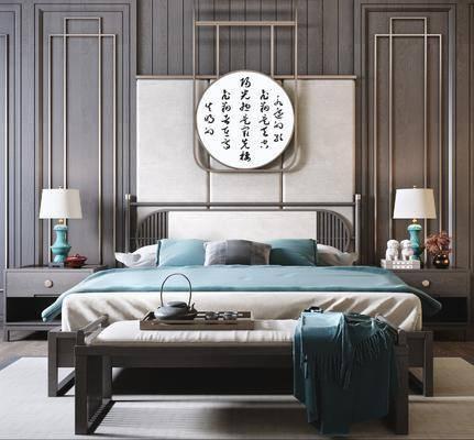 雙人床, 床具組合, 墻飾, 床頭柜, 臺燈