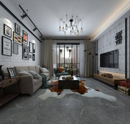 餐厅, 客厅, 沙发组合, 电视柜