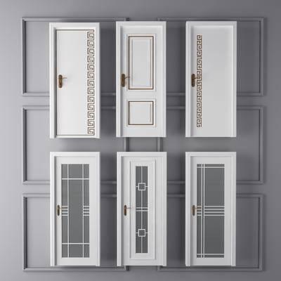 新中式门, 玻璃门, 推拉门, 单门, 卫生间门