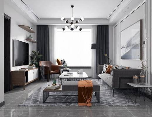 现代客厅, 现代餐厅, 现代厨房, 桌椅组合, 沙发组合, 茶几, 边几, 吊灯, 现代吊灯, 鞋柜, 电视柜, 落地灯