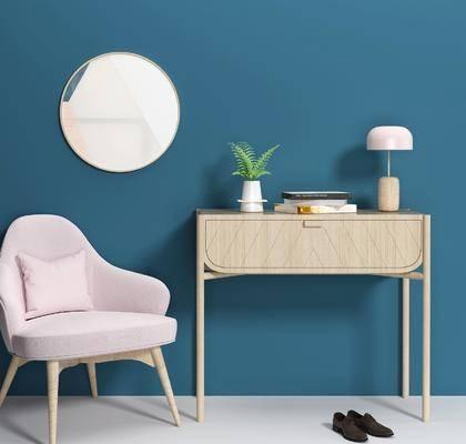边柜, 柜架组合, 单椅, 摆件组合, 墙饰