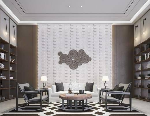 售楼处, 桌椅组合, 茶几, 墙饰