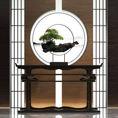 端景台, 新中式玄关端景台3d模型, 摆件, 盆栽