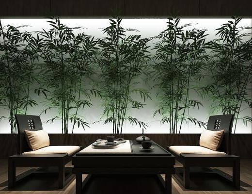 新中式茶室, 新中式, 茶室, 柱子, 茶具