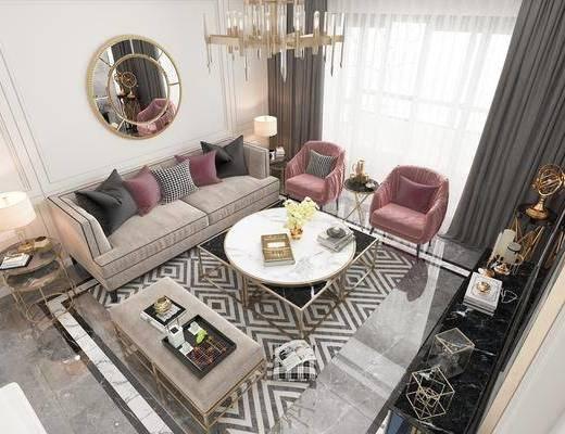 客厅, 多人沙发, 茶几, 单人沙发, 躺椅, 吊灯, 电视柜, 边柜, 边几, 台灯, 摆件, 装饰品, 陈设品, 简欧轻奢