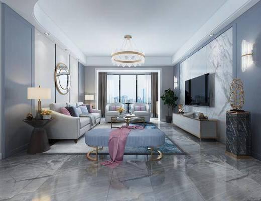 客厅, 多人沙发, 边几, 台灯, 茶几, 单人沙发, 躺椅, 布艺沙发, 墙饰, 壁灯, 电视柜, 装饰柜, 边柜, 摆件, 装饰品, 陈设品, 吊灯, 现代