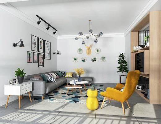 北欧客厅, 北欧, 客厅, 布艺沙发, 椅子, 现代吊灯, 壁灯, 导轨灯
