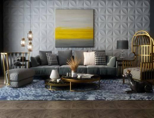 多人沙发, 茶几, 单人沙发, 台灯, 装饰画, 挂画, 边几, 吊灯, 摆件, 装饰品, 陈设品, 现代