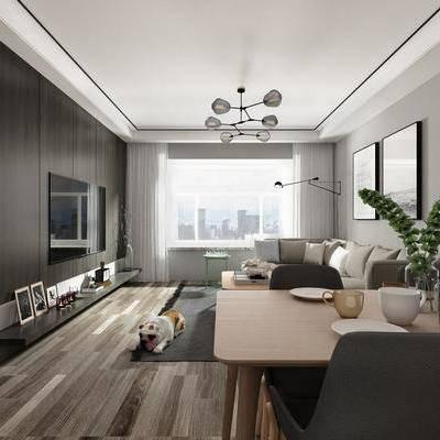 客厅, 餐厅, 多人沙发, 布艺沙发, 茶几, 装饰画, 摆件, 餐桌, 餐椅, 装饰柜, 北欧