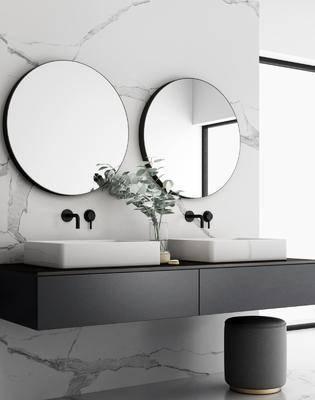 镜子, 洗手盆, 壁镜, 洗浴组合