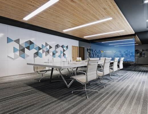 现代, 会议室, 投影布, 会议桌, 椅子, 办公椅, 墙饰
