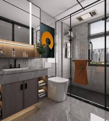 浴柜, 壁镜, 马桶, 装饰画