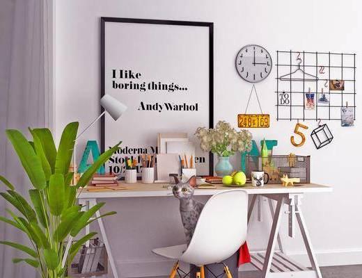 北欧书桌, 书桌, 盆栽, 摆件, 装饰画
