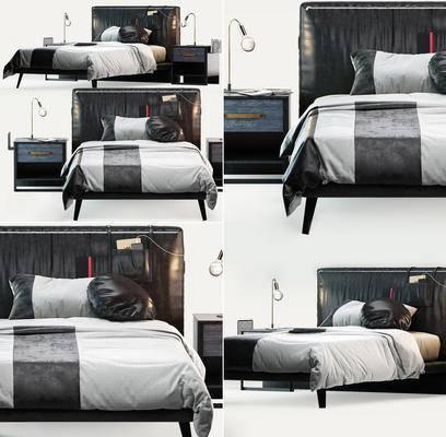双人床, 床头柜, 台灯, 现代, 床具组合, 床