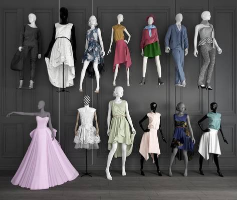 服装模特架, 服装模型, 人物, 女装模特组合
