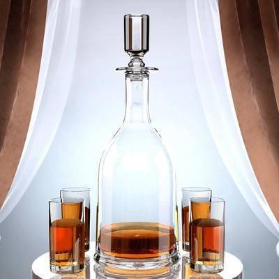 酒, 杯子, 瓶子, 现代