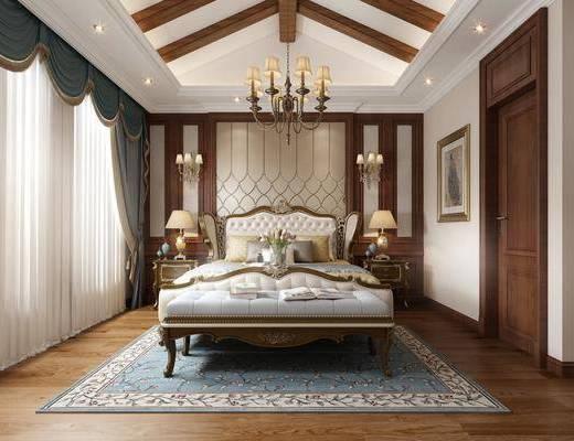 双人床, 床具组合, 背景墙, 吊灯, 装饰画