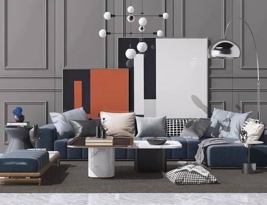 现代沙发组合, 沙发组合, 沙发茶几组合, 多人沙发