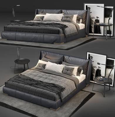 皮革, 雙人床, 床頭柜, 床頭燈, 地毯, 裝飾畫, 現代, 床具