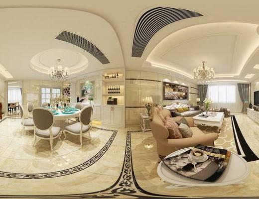 客厅, 餐厅, 餐桌椅, 沙发组合, 吊灯, 欧式