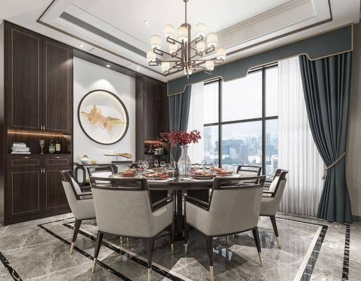 餐厅, 餐桌, 餐椅, 单人椅, 餐具, 圆框画, 装饰画, 吊灯, 新中式