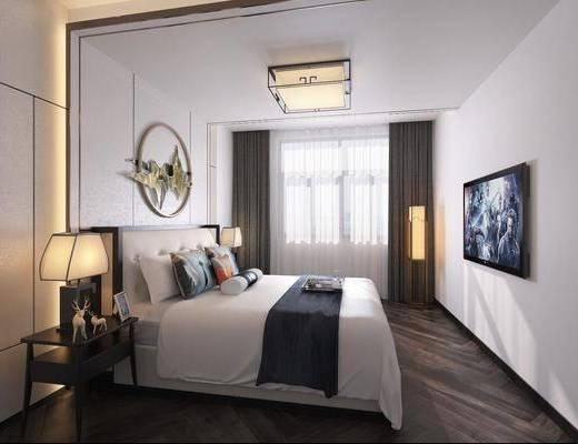 新中式, 卧室, 双人床, 吊灯, 边几, 台灯, 墙饰