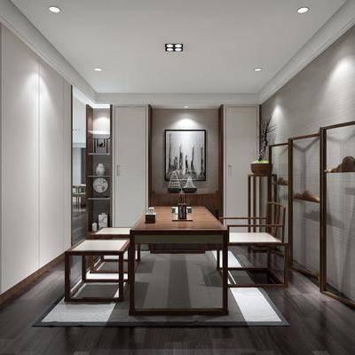 茶室, 茶桌, 单人椅, 装饰画, 挂画, 装饰架, 摆件, 装饰品, 陈设品, 盆栽绿植, 新中式