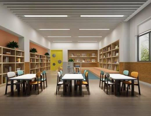 幼儿园, 教室, 书桌, 单人椅, 装饰柜, 边柜, 书柜, 书籍, 盆栽, 绿植, 现代