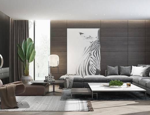 現代, 客廳, 沙發組合