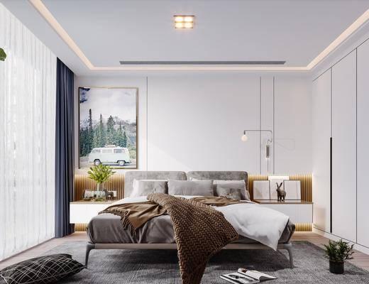 双人床, 床具组合, 吊灯, 衣柜, 床头柜, 花瓶
