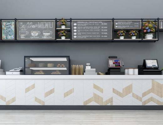 前台, 收银台, 收银机, 置物架, 咖啡机, 摆件, 黑板, 现代