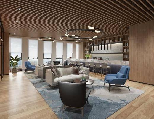 休闲区, 现代休闲区, 沙发组合, 前台, 单椅, 茶几, 现代