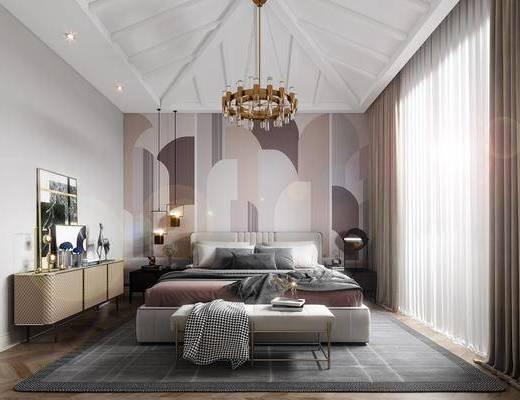 单人床, 床具组合, 吊灯, 床头柜, 边柜, 摆件组合
