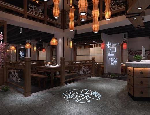 餐厅, 吊灯组合, 桌椅组合, 前台接待, 中式