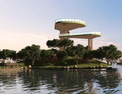 湿地公园平台, 创意平台, 平台, 钢结构平台, 螺旋楼梯平台