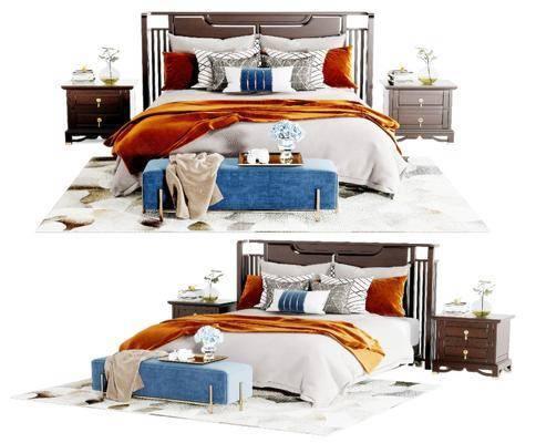 新中式, 双人床, 组合