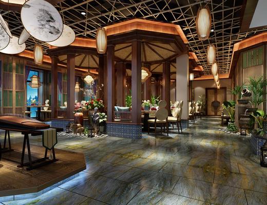 餐厅, 餐馆, 餐桌, 餐椅, 琴, 凳子, 盆栽, 绿植, 花瓶, 花卉, 吊灯, 圆桌, 餐具, 新中式
