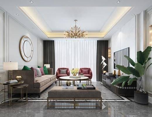 客厅, 多人沙发, 茶几, 躺椅, 单人沙发, 电视柜, 边柜, 边几, 台灯, 墙饰, 吊灯, 盆栽, 绿植植物, 壁灯, 摆件, 装饰品, 陈设品, 现代轻奢