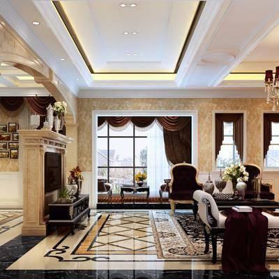 客厅, 餐厅, 多人沙发, 单人沙发, 躺椅, 边几, 台灯, 茶几, 边柜, 壁灯, 吊灯, 墙饰, 餐桌, 餐椅, 装饰画, 挂画, 欧式