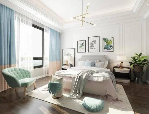 兒童房, 臥室, 床具組合, 掛畫組合, 現代